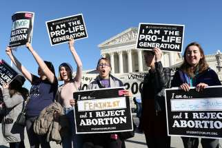 Pro-life advocates gather near the U.S. Supreme Court during the annual March for Life in Washington Jan. 19.