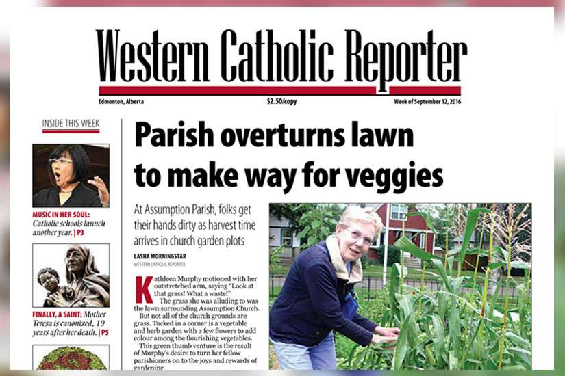 The cover of the Western Catholic Reporter on Sept. 12, 2016. The Edmonton-based Catholic newspaper, which has been publishing for over 50 years, will be putting out its final edition on Sept. 26.