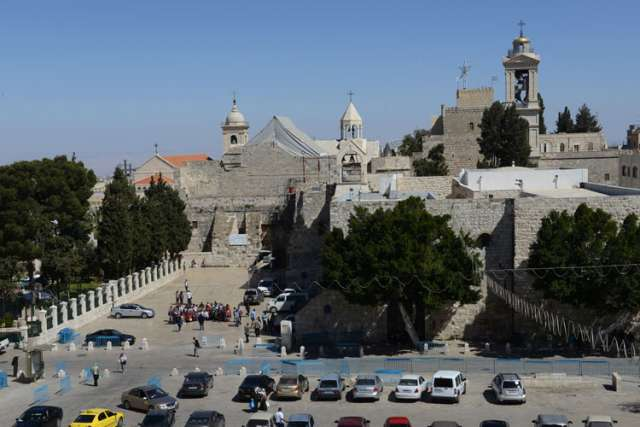 An overview of Manger Square and the Church of Nativity in Bethlehem.