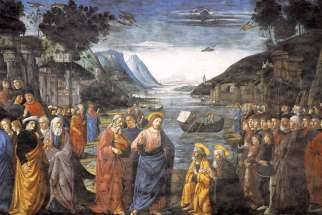 Jesus commissioning the Twelve Apostles by Ghirlandaio, 1481