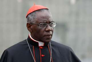 Cardinal Robert Sarah, prefect of the Congregation for Divine Worship and the Sacraments, is pictured at the Vatican in this Oct. 9, 2012, file photo. Cardinal Sarah, the Vatican's liturgy chief, has asked priests to begin celebrating the Eucharist facing east, the same direction the congregation faces.