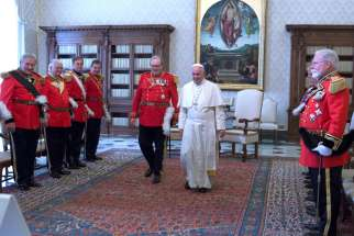 Fra Matthew Festing, seen here with Pope Francis June 2016, has accepted the Pope's request for him to resign after a meeting between the two Jan. 25.