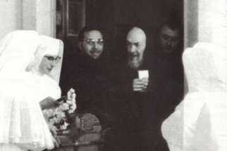 A undated photo of nuns visiting Padre Pio at the monastery of Our Lady of Grace in San Giovanni Rotondo.