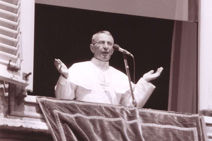 An undated photo of Pope John Paul I speaking at the window of his private studio.