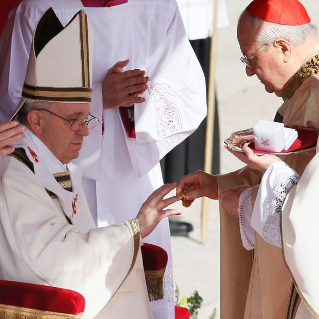 Pope Francis receives his ring from Cardinal Angelo Sodano, dean of the College of Cardinals, during his inaugural Mass in St. Peter's Square at the Vatican March 19.