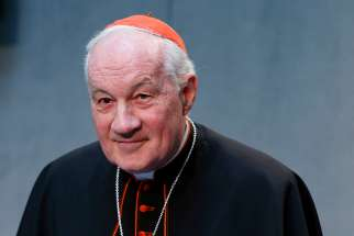 Cardinal Marc Ouellet, prefect of the Congregation for Bishops, attends a news conference at the Vatican 2016.