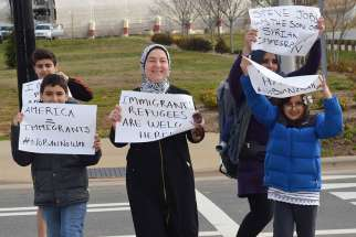 A demonstration in Charlotte, North Carolina in support of refugees Jan. 29. Despite battles in court over U.S. President Donald Trump's executive order, refugeea families continue to arrive in the Diocese of Charlotte.