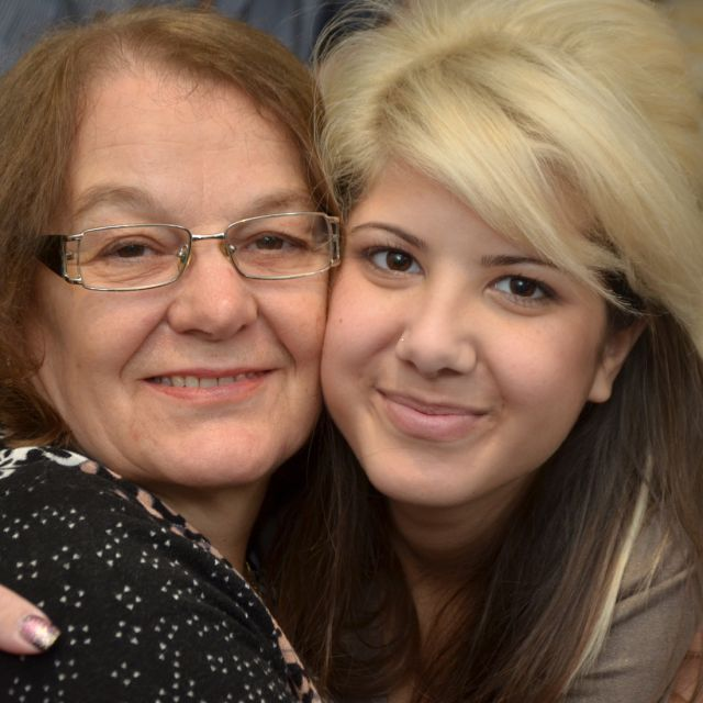 Cristina Di Corte, right, pictured with her stepgrandmother Anna Cartaginese, is looking for a bone marrow match. Di Corte is one of only 70 diagnosed cases in the world of mitochondrial neurogastrointestinal encephalopathy (MNGIE), a disorder that affects the digestive and nervous system.