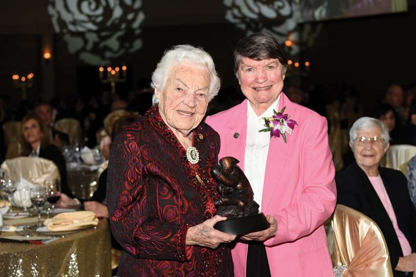 Sr. Mary Jeanne Davidson, right, was honoured with Catholic Missions In Canada's St. Joseph Award for her work in Canada's mission territories. She is pictured here with former Mississauga Mayor Hazel McCallion at the annual Tastes of Heaven dinner April 6.