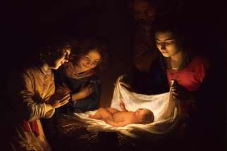 The Adoration of the Child is depicted in this 17th-century painting by Dutch artist Gerard van Honthorst.
