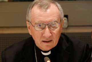 Cardinal Pietro Parolin, Vatican secretary of state, speaks during a high-level side event Sept. 19 at the United Nations on the role of religious organizations in responding to the ongoing refugee and migration crisis affecting many areas of the world.