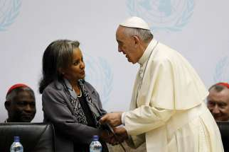 Pope Francis greets Sahle-Work Zewde, then-director general of the United Nations office in Nairobi, during a 2015 visit to Nairobi. Zewde was elected Oct. 25 as Ethiopia's first female president.