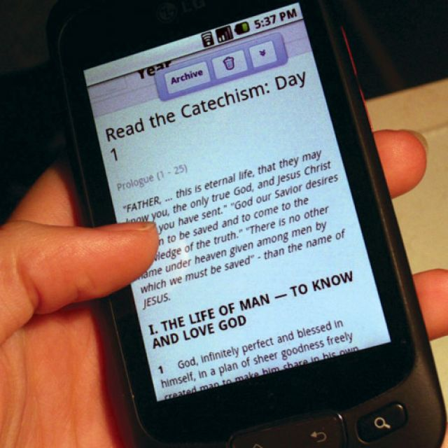 You can receive a little bit of The Catechism of the Catholic Church on your smartphone or mobile device every day.
