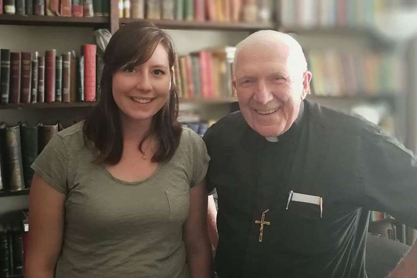 Monica Korol and Fr. Joseph Hattie, associate chaplain of Our Lady Seat of Wisdom College.
