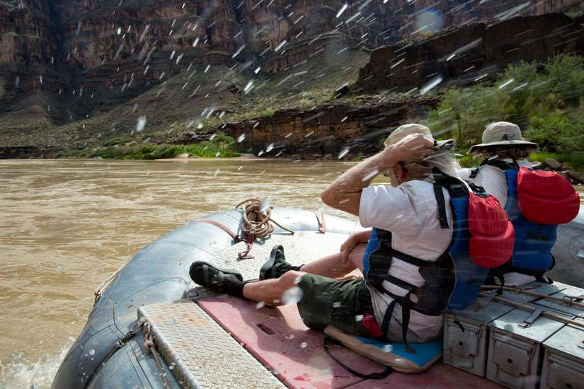 A couple takes a guided rafting trip inside the Grand Canyon in Arizona Sept. 14, 2014.