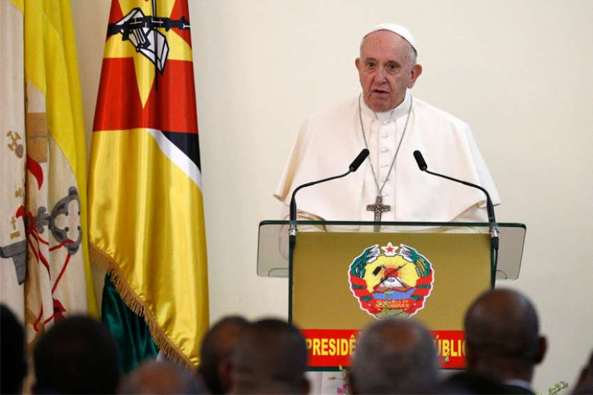 Pope Francis speaks at a meeting with authorities, leaders of civil society and the diplomatic corps at the Palacio da Ponta Vermelha in Maputo, Mozambique, Sept. 5, 2019.
