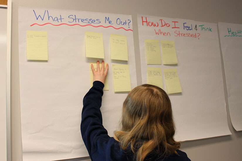 Students think about and discuss what stresses them out, and the actions and feelings they exhibit when stressed in a workshop.