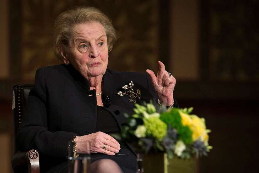 Former U.S. Secretary of State Madeleine Albright answers questions from Georgetown University students in Washington April 7 about the future challenges for religion, peace and world affairs.