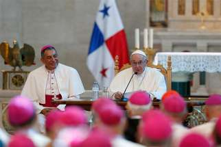Pope Francis addresses Central American bishops during a meeting in the Church of St. Francis of Assisi in Panama City Jan. 24, 2019. At left is Archbishop Jose Domingo Ulloa Mendieta of Panama.