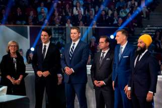 The leaders of Canada's federal parties at the national English language debate on Oct 8, 2019.