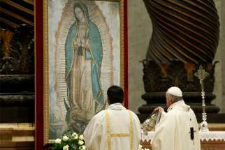 "Pope Francis uses incense as he venerates an image of Our Lady of Guadalupe during a Mass marking her feast day in St. Peter's Basilica at the Vatican Dec. 12, 2019. In attendance were U.S. bishops from Illinois, Indiana, and Wisconsin making their ""ad limina"" visits to the Vatican."
