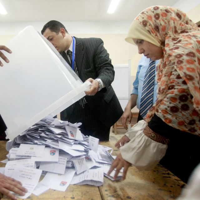 Electoral coordinators prepare to count ballots at a school used as a polling station in Cairo May 24. Egyptian voters of many ages, occupations and beliefs stood in line for hours to cast their ballots for a new president. The winner would replace Hosni Mubarak, deposed in an uprising last year.