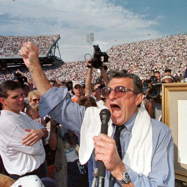 Joe Paterno, whose 46 years as Penn State's head coach was tainted by a child sex-abuse scandal, died Jan. 22 at age 85. Shortly after his dismissal in November, Paterno, who is Catholic, was diagnosed with lung cancer. He is pictured in 1998 celebrating his 300th career win at Beaver Stadium in State College, Pa.