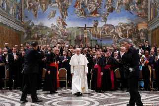 Pope Francis meets diplomats accredited to the Holy See during an annual meeting at the Vatican Jan. 8.
