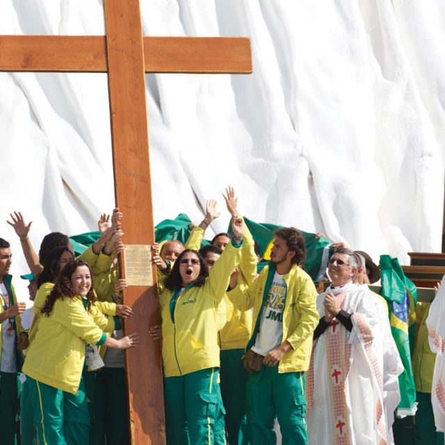 Brazilian pilgrims cheer as Pope Benedict XVI announces that the next World Youth Day will be held in Rio de Janeiro in 2013.