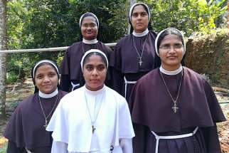 Missionaries of Jesus sisters pose for a photo Jan. 23, 2019, in Cochin, India. They prostested the alleged rape of their former superior by a bishop.