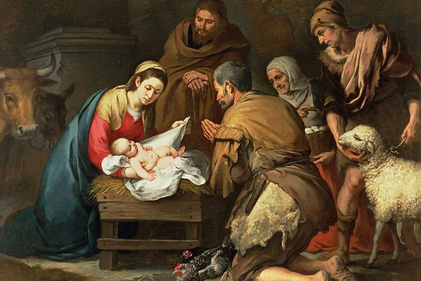 The adoration of the shepherds is depicted in this 17th-century painting by Bartolome Esteban Murillo.