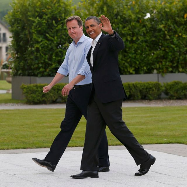 Britain's Prime Minister David Cameron walks with U.S. President Barack Obama at the Lough Erne golf resort, where the Group of Eight leaders are meeting in Enniskillen, Northern Ireland, June 17.