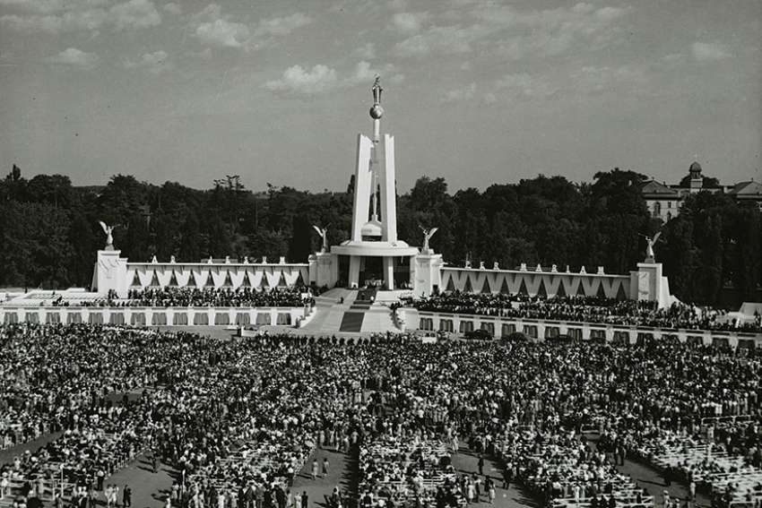 Thousands jam Ottawa's Lansdowne Park for the consecration of Canada to the Immaculate Heart of Mary on June 22, 1947.