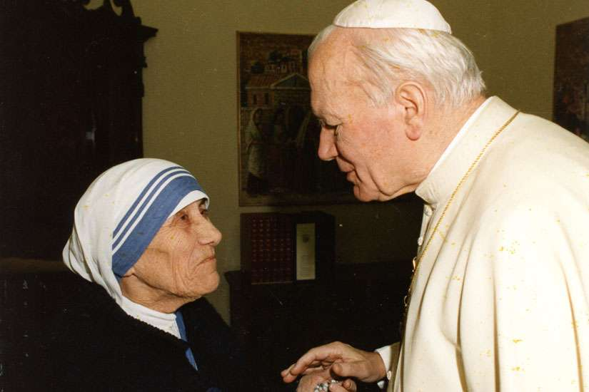 Pope John Paul II greets Mother Teresa at the Vatican in an undated file photo. When Mother Teresa is canonized Sept. 4, she'll join three other Teresas who are models for today's Church.