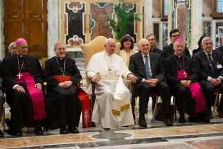 Pope Francis meets with participants attending the plenary meeting of the Pontifical Academy of Social Sciences at the Vatican May 2, 2019.