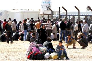 Syrian refugees at the Zaatari refugee camp in Jordan.