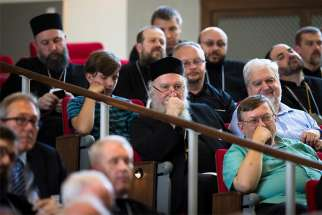 Attendees at The Catholic University of America in Washington listen to a June 6, 2019, discussion about the future of the Ukrainian Catholic Church in North America.