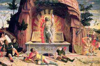 The Resurrection is depicted in a 15th-century painting by Italian painter Andrea Mantegna.