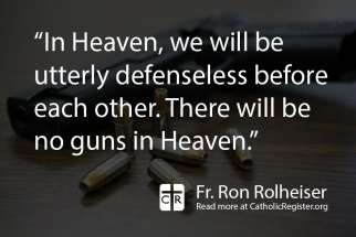 Do we arm ourselves in the face of violence, asks Fr. Rolheiser.