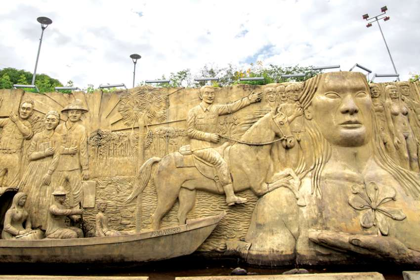 A sculpture in downtown Boa Vista, Brazil, displays the conquest of Indigenous peoples. Protecting Indigenous culture is one of the issues to be discussed at the Synod of Bishops on the Amazon in Rome next month.