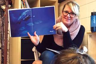 It's story time for Tonya Byrne's class.