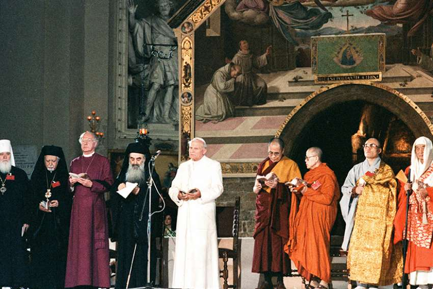 St. Pope John Paul II attends an inter-religious peace meeting in Assisi, Italy, in this Oct. 27, 1986