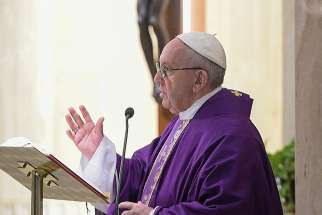 Pope Francis celebrates Mass Feb. 16 in the chapel of the Domus Sanctae Marthae at the Vatican.