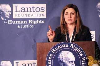 Iraqi lawmaker Vian Dakhil speaks after receiving the Lantos Human Rights Prize at a Capitol Hill ceremony on Feb. 8, 2017.