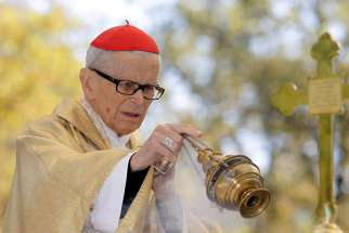 Krakow's Cardinal Franciszek Macharski, who died Aug. 2 at the age of 89, is pictured in this 2011 file photo during Mass in Piekary Slaskie, Poland.