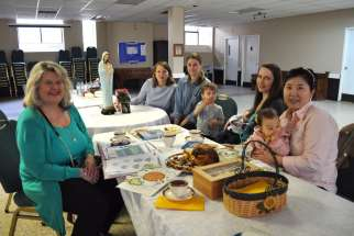 Dorothy Pilarski, left, the driving force behind the Catholic Moms' ministry in the Archdiocese of Toronto, with the mothers' group at St. Vincent de Paul parish.
