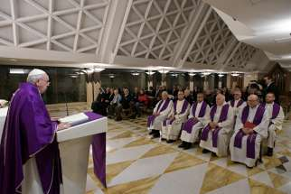 Pope Francis celebrates morning Mass in the chapel of his residence, the Domus Sanctae Marthae, at the Vatican Dec. 10, 2019. The pope said God will console anyone who lets himself or herself be consoled; all that is needed is to ask forgiveness.