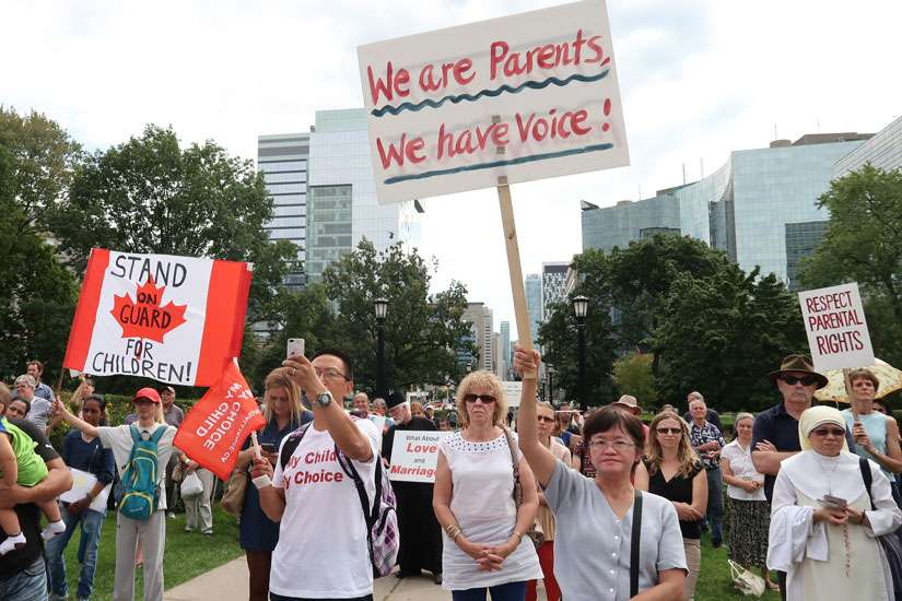 Some 300 protesters showed up at Queens Park on Sept. 21 to rally against Ontario's sex-ed curriculum and demand the resignation of Conservative leader Patrick Brown.