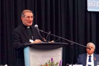 Apostolic Nuncio Archbishop Luigi Bonazzi addresses Canada's bishops at the annual plenary.