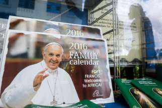Pope Francis calendars are displayed for sale in a bookstore in Nairobi, Kenya, Nov. 7. A Kenyan bishop said the church is comfortable with the security preparations for the reception of Pope Francis, in the wake of the Paris attacks that appear to have targeted crowded areas.